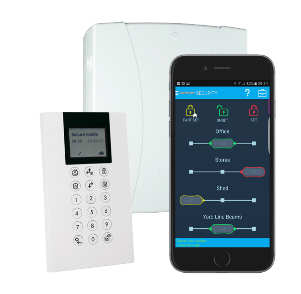 Alarme Risco application clavier et centrale d'alarme, installation d'alarme filaire Secure inside